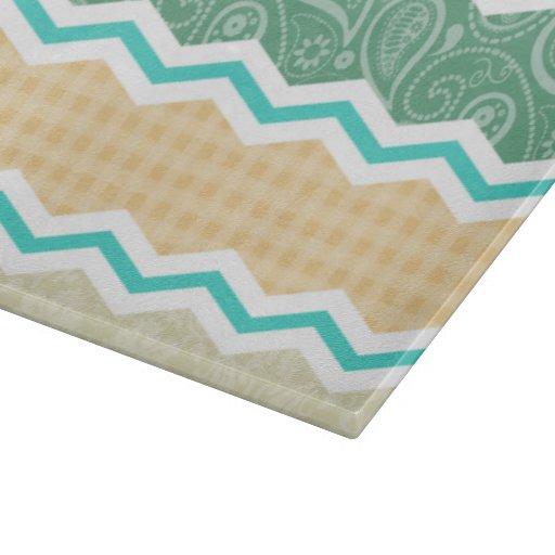 Aqua Green, Peach, & Tan Country Patterns Cutting Boards