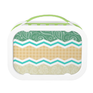 Aqua Green, Peach, & Tan Country Patterns Lunch Boxes