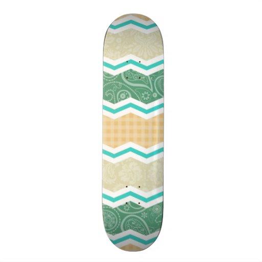 Aqua Green, Peach, & Tan Country Patterns Skateboard
