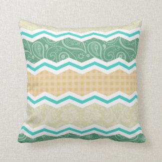 Aqua Green, Peach, & Tan Country Patterns Throw Cushion