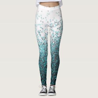 Aqua Green Teal Silver Glitter Sequins Printed Leggings