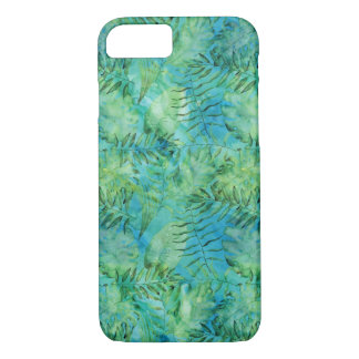 Aqua Green Tropical Hawaii Leaves Watercolor iPhone 7 Case