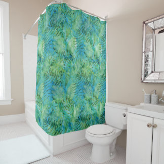Aqua Green Tropical Hawaii Leaves Watercolor Shower Curtain