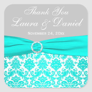 Aqua, Grey, and White Damask Wedding Favour Sticke Square Stickers