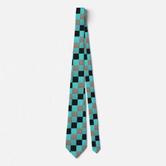 Aqua Grey Black Blocks Pattern Tie