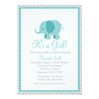 Aqua Grey Chevron Elephant Girl Baby Shower Invite