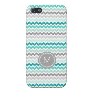 Aqua Grey Chevron Monogram iPhone 5c iPhone 5 Case