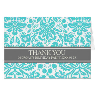 Aqua Grey Damask Birthday Party Thank You Card
