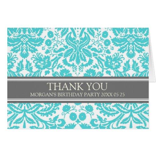 Aqua Grey Damask Birthday Party Thank You Card