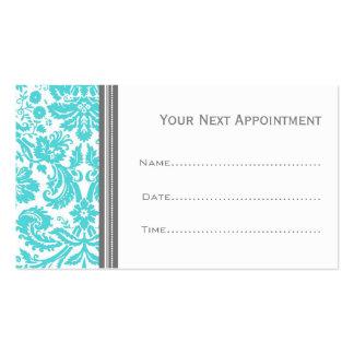 Aqua Grey Damask Salon Appointment Cards Business Card