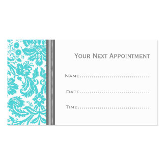 Aqua Grey Damask Salon Appointment Cards Pack Of Standard Business Cards
