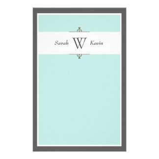 Aqua & Grey Monogram stationery