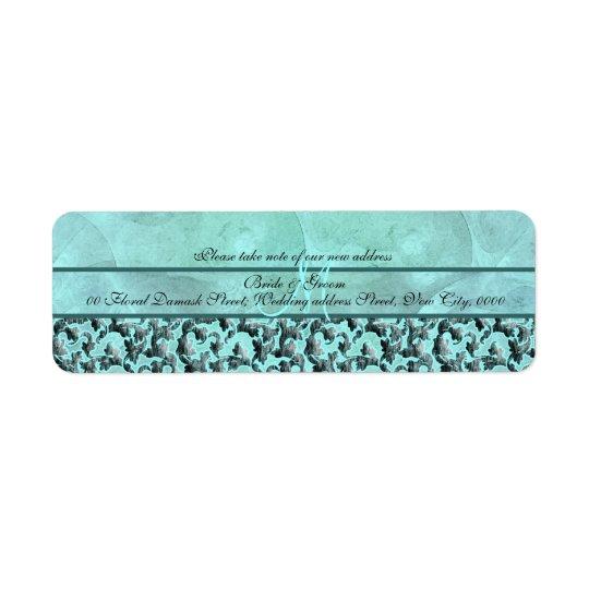 """Aqua grey """"new address"""" wedding floral damask return address label"""