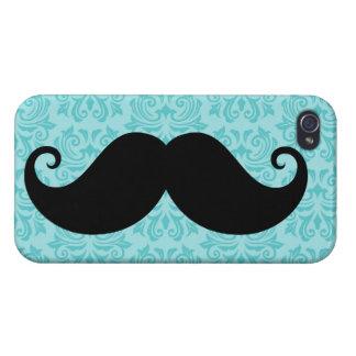 Aqua handlebar mustache on black damask pattern case for iPhone 4