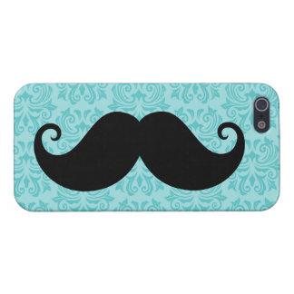Aqua handlebar mustache on black damask pattern iPhone 5/5S cases