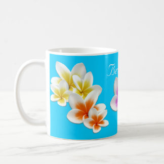 Aqua Hawaiian Flowers Mom s Custom Coffee Mug