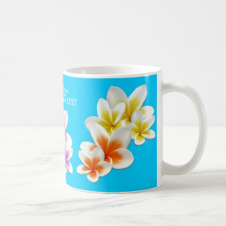 Aqua Hawaiian Flowers Mom's Custom Coffee Mug