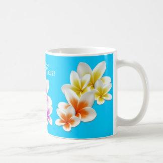Aqua Hawaiian Flowers Mom's Custom Coffee Mug