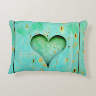 "Aqua heart  Brushed Polyester ""Accent Pillow"" art Decorative Cushion"