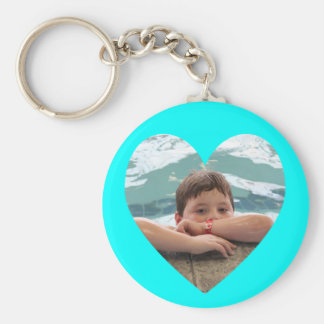 Aqua Heart Photo Template Basic Round Button Key Ring