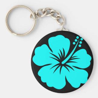Aqua hibiscus flower design keychain