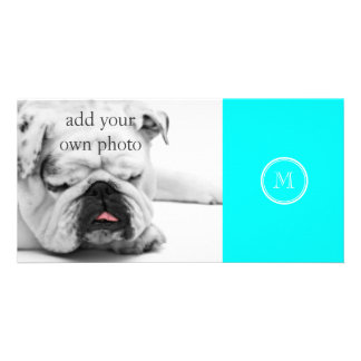 Aqua High End Colored Personalized Photo Cards