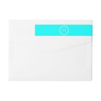 Aqua High End Colored Personalized Wraparound Return Address Label