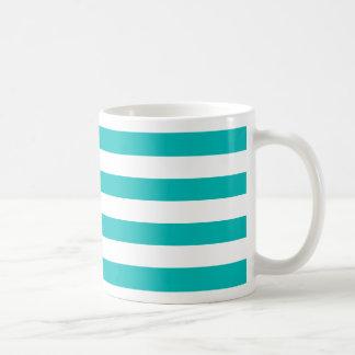 Aqua Horizontal Stripes Coffee Mug