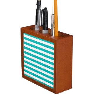 Aqua Horizontal Stripes Desk Organiser