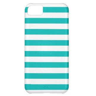 Aqua Horizontal Stripes iPhone 5C Case