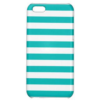 Aqua Horizontal Stripes iPhone 5C Cases