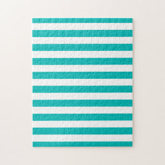 Aqua Horizontal Stripes Jigsaw Puzzle