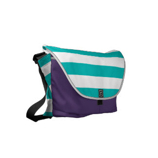 Aqua Horizontal Stripes Messenger Bag