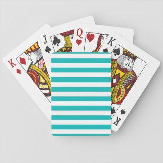 Aqua Horizontal Stripes Playing Cards