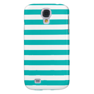 Aqua Horizontal Stripes Samsung Galaxy S4 Cover
