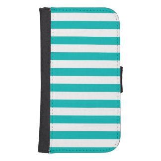 Aqua Horizontal Stripes Samsung S4 Wallet Case