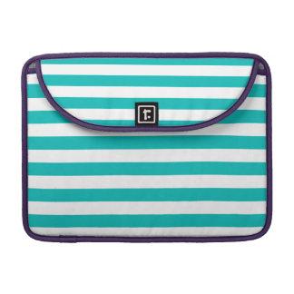 Aqua Horizontal Stripes Sleeve For MacBooks