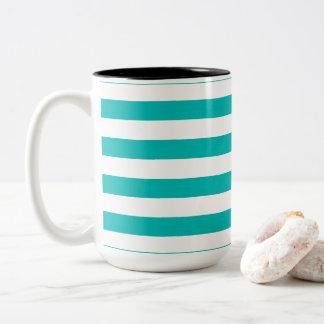 Aqua Horizontal Stripes Two-Tone Coffee Mug