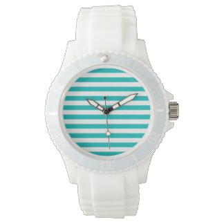 Aqua Horizontal Stripes Watch
