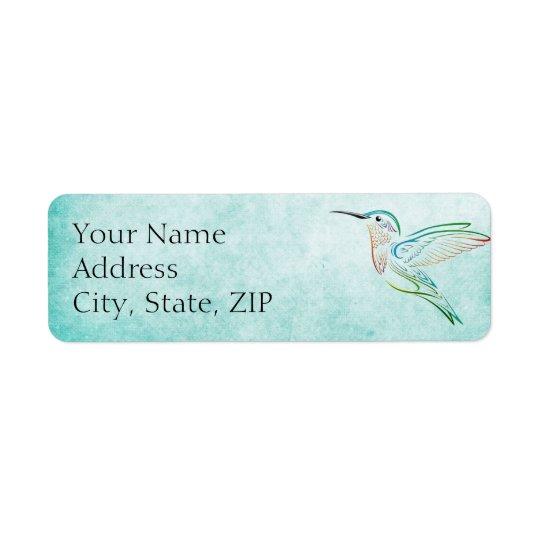 Aqua Hummingbird Anniversary Return Address Return Address Label