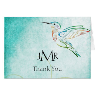 Aqua Hummingbird Watercolor Anniversary Thank You Card