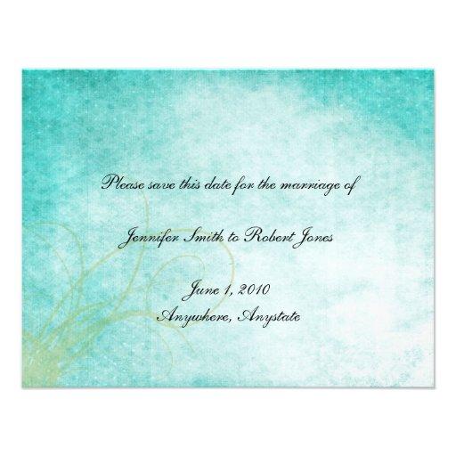 Aqua Hummingbird Watercolor Save the Date Personalized Invite