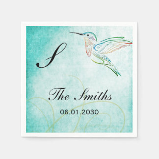 Aqua Hummingbird Watercolor Wedding Disposable Serviettes