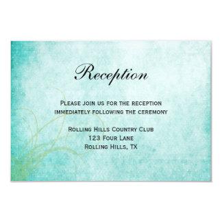 Aqua Hummingbird Watercolor Wedding Reception Card
