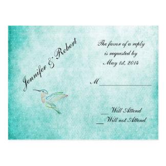 Aqua Hummingbird Watercolor Wedding RSVP Postcard