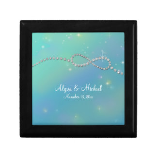Aqua Infinity Symbol Sign Infinite Love Twinkling Small Square Gift Box