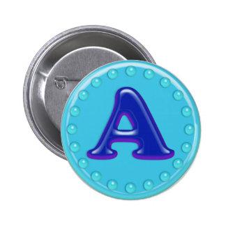 Aqua Initial A Pin