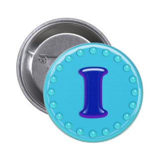 Aqua Initial I Pinback Button