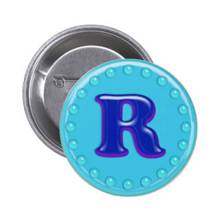 Aqua Initial R Pinback Button