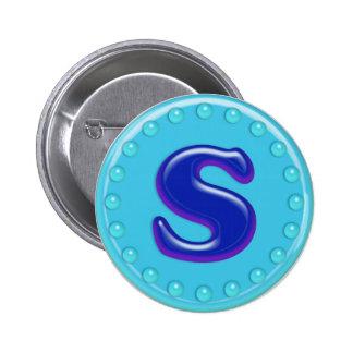 Aqua Initial S Pinback Buttons